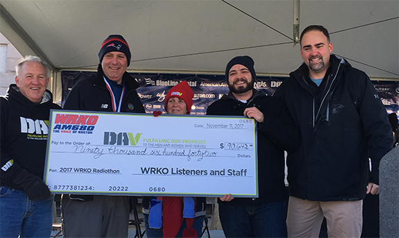 WRKO Raises $90k for Disabled Veterans. On Friday (11/10), news/talk WRKO,  Boston presented a live radiothon from the Seaport Hotel from 6:00 am to  8:00 pm ...