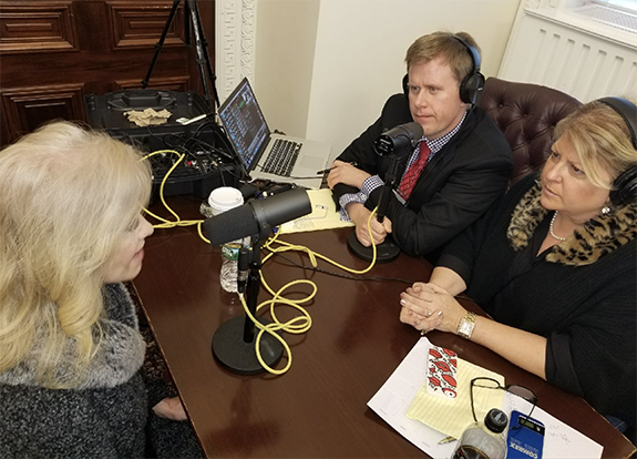 Talking with Kellyanne Conway at the White House Radio Row. Talk40.com News  publisher Bryan Crabtree (center) and conservative media figure Robyn  Walensky ...