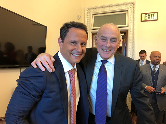 White House Chief of Staff John Kelly Tips FOX News' Brian Kilmeade. White  House Chief of Staff John Kelly (right) poses for a pic with FOX News  Channel and ...