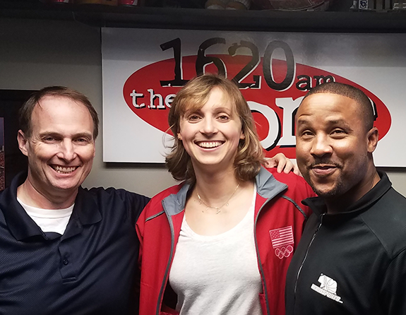 5396f10e3b7 Olympic swimming champion Katie Ledecky (center) is pictured above with  sports talk hosts Gary Sharp (left) and Damon Benning (right). She appeared  on the ...